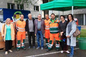 La délégation de Peseux en mieux avec l'équipe de recycleurs de Renens au complet.